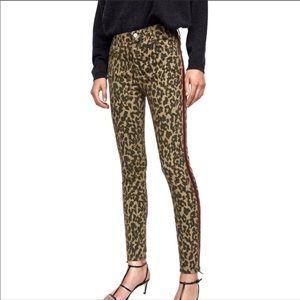 NWT Zara Leopard Print Skinny Jeans